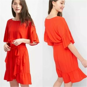 Gap Red Short Sleeve Asymmetrical Ruffle Dress